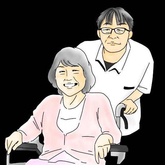 男性が女性が座っている車椅子を押す様子